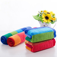 "35*75cm/13.8*29.5"" Colored Stripes Cotton Face & Hands Towel Quick-drying Antibacterial Bath Towels For Adults Soft Towel 1pc"