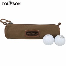 Tourbon Small Golf Ball Bag Carry 5 Balls Divot Tool Holder Vintage Canvas Pouch 21.5CM(China)