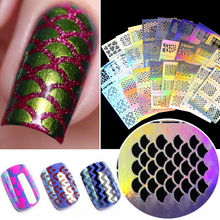 FWC 1Pc Hollow Out Nail Art DIY Tips Guides Transfer Stickers Accessories French Tips Manicure Decal Decoration(China)