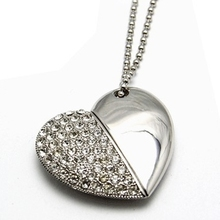 Waterproof Diamond Heart Necklac Pendrive 64GB Memoria Usb Drive Creativo Pen Drive 512GB 16GB 32GB Memory Stick Card Gift 2.0