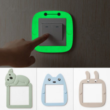 4 shapes cartoon Soft plastic Luminous switch stickers Fluorescent Wall Sticker socket cover for home decoration