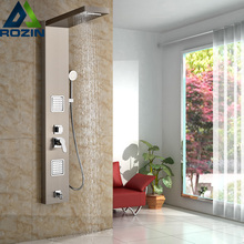 Stainless Steel Bathroom Bath Rainfall Shower Column Panel Brass Massage Control System Single Handle with Jets & Hand Shower(China)