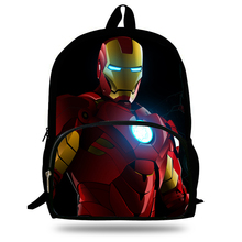 16-inch Kids School Backpack Iron man For Child Age 7-13 Children School Bags Boys Superman Backpack Mochila Infantil(China)