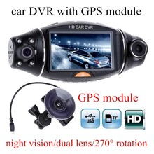 "new arrival Car black box Dual Lens R310 2.7"" inch Night Vision Car DVR Camera with GPS module G-Sensor video recorder"