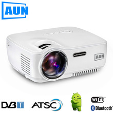 AUN Projector AM01S ( Optional DVB-T / ATSC / Android 4.4 WIFI Bluetooth ) 1400 Lumen LED Projector LED TV tuner , HDTV Module