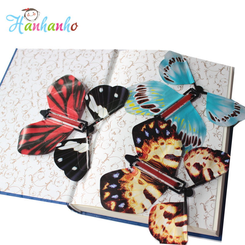 Wholesale 50pcs/Lot Magic Flying Butterfly Wind Up Paper Butterfly Surprise Card Insert Magic Trick Toy(China (Mainland))