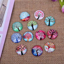 (100 pieces/lot) mix life tree round dome photo glass cabochons 10mm 12mm diy pendant earring jewelry accessories(China)