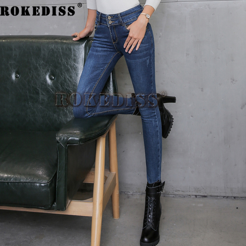 2017classic style straight jeans women mid waist blue jeans female high elastic denim pants of good quality women jeans C080Одежда и ак�е��уары<br><br><br>Aliexpress