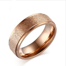 LIN STUDIO Frosted Rose Gold Wedding Engagement Ring Stainless Steel Rings For Women Jewelry R-048