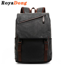 RoyaDong 2017 Leather Backpack Men PU Leather Vintage Inclined Zipper Military Travel Bag