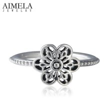 AIMELA Spring Floral Daisy Lace Rings For Women Antique 925-Sterling-Silver Vintage Wedding Engagement Flower Ring Fine Jewelry