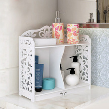 Brand New Storage Shelves Double Layer 2 Grid Floor Type Racks Creative White Carved Hollow Multi-function Shelves Bathroom Tool(China)
