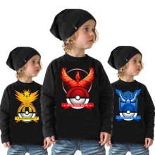New Autumn/Winter Poke mon Go Cartoon Print Baby Boys Kids Long-sleeve T-shirt Fashion Cool Cotton Print Tops Children Clothing(China)
