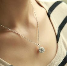 925 Pure Silver Necklace Female Crystal Shambhala Ball Pendant Short Birthday Present For Girlfriend Gifts