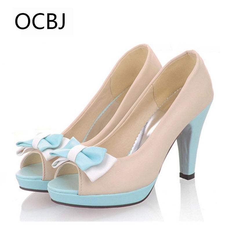 2017 summer sandals sweet peep toes bow pumps high heel platform candy color princess shoes butterfly ladies girls elegant<br>