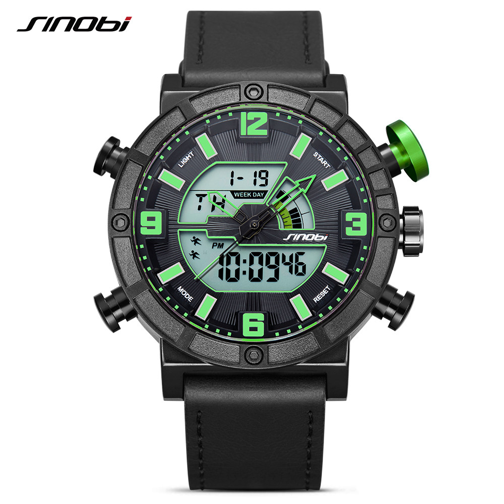 SINOBI Top Brand Men Sport Watches LED Display Watch Men Leather Digital Quartz Date Watch Backlight Relogio Masculino 2017<br>