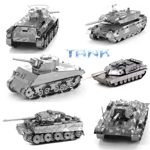 Mini 3D Metal Puzzle T34 M1 Abrams Tank Panzerkampfwagen VI Ausf.E Tiger I Model Building Figure Toy For Children Christmas Gift