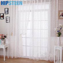 HIPSTEEN Flocking Floral Pattern Tulle Voile Door Window Curtain cortinas for living room blackout curtains 1M*2M 4 Colors