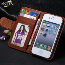 KISSCASE Luxury Leather Case For Apple iphone 4 4S 4G  Wallet Stand With Card Holder Photo Frame Cover Cell Phone Bags Sleeve