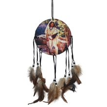 Hot Sales Native American Decoration Brown Long Dream Catcher Beaded Decor Ornament Craft Gift