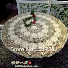 Free shipping cotton crochet lace tablecloth table cover for dinning table cutout table runner lace decoration tablecloth beige(China)