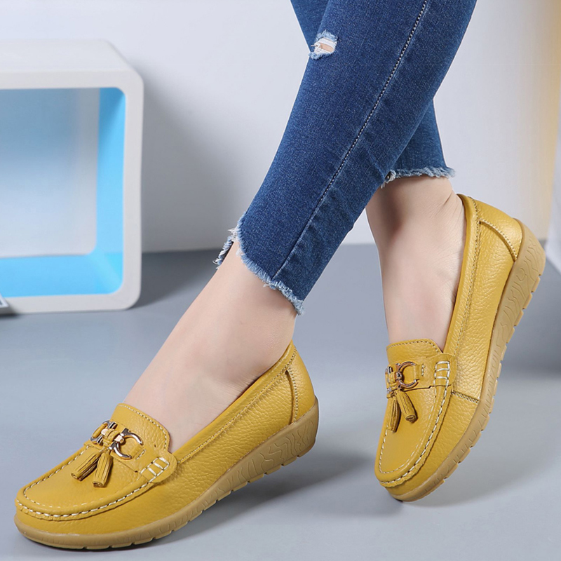 Women Ballet Shoes  Cut Out Leather Breathbale Moccains Women Boat Shoes Ballerina Ladies(China)