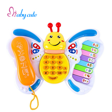 Baby Toys Electrical Musical Piano Educational Keyboard Butterfly Toy Phone Number Animal Sound Early Learning Jouet For Baby