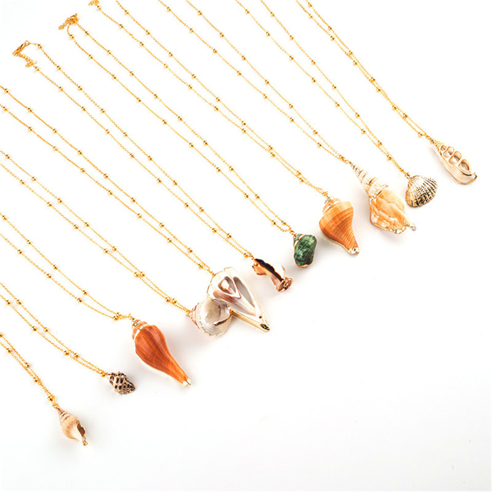 20 Styles Seashell Pendants Initial Necklace female Statement Jewlery Geometric Multix2dlayer Shells Choker Necklaces for Women (39)