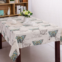 DOSOMA Butterfly Linen Table Cloth with Lace Edge Print Rectangle Kitchen Coffee Table Cover Home Tablecloth toalha De Mesa