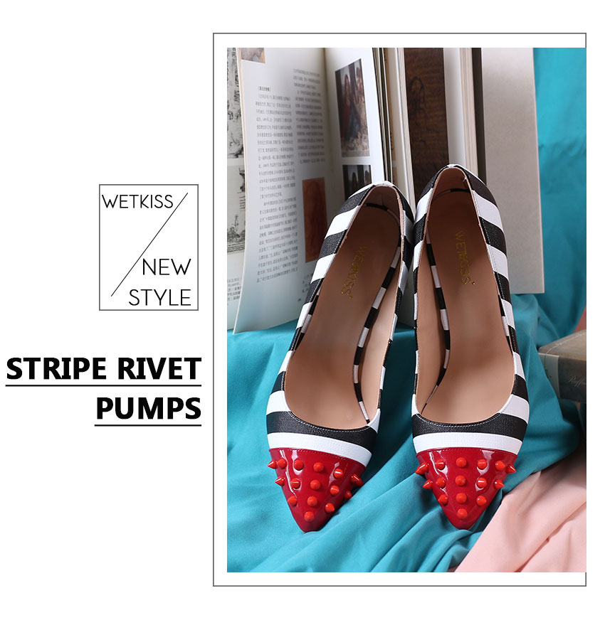 WETKISS Studded High Heels 12cm Stilettos Women Pointed Toe Rivet Ladies Party Pumps Zebra Shallow Colorful Shoes Woman 34-45 2
