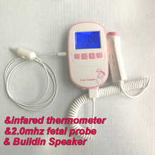 Fetal Doppler Baby Heart Rate Monitor large 2.4inch Screen 2MHz Probe Built-in Speaker infrared Temperature Probe Thermometer