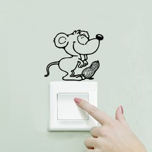 DIY Funny Cute Mouse Switch Stickers Wall Stickers Home Decoration Bedroom Parlor Decorationy Vintage Poster(China)
