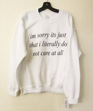 White im sorry its just that i literally do not care   letter Sweatshirt Jumper  women autumn sweatshirt  black / white  Gray