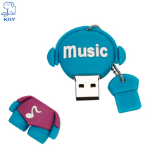 KRY cartoon music notes USB flash drive USB 2.0 4GB 8GB 16GB 32GB 64GB USB new music style flash drive pendriver usb stick(China)