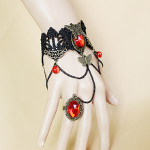 Steampunk Big Butterfly Bracelet Red Rhinestone Link Bracelets Gothic Lace Ladies Wristband Jewelry Chain Bangles Accessories
