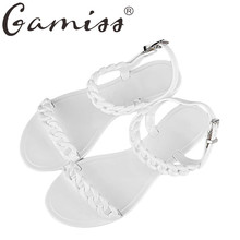 Gamiss Summer Women Beach Shoes Plastic Chain Buckle Jelly Sandals Summer flip flops Lady Platform Wedges Gladiator Sandals Shoe
