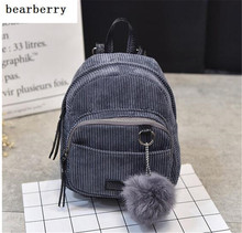 2017 top quality women mini backpack patchwork Corduroy school bags min travel bags for girls with fur tassel MN76
