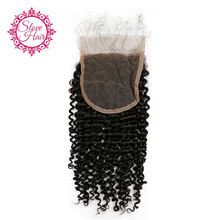 Slove Hair Brazilian Kinky Curly Remy Human Hair Lace Closure Free Part With Baby Hair Natural Black Color Bleached Knots