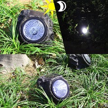 2PCS 4 LED Solar Decorative Rock Stone Lights Resin Material Outdoor Garden Yard Lawn Lamp Imitation Stone Appearance