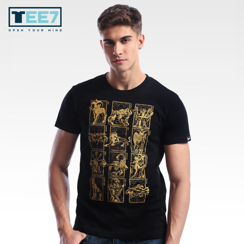 TEE7 Men Casual Short Sleeve T-shirts Anime Saint Seiya 100% Cotton Fashion Printed Male Tee Male O-Neck Top Fittness Blouse