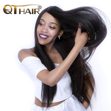 QThair Brazilian Straight Hair Weave Bundles Free Shipping Non-remy Human Hair Extension Natural Black Color
