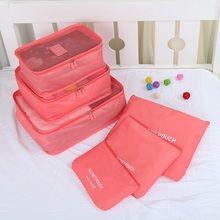 6pcs Nylon Packing Cube Women Men Travel Bag Waterproof Luggage Clothes Tidy Pouch Organizer Large Capacity Durable Duffle Bags(China)