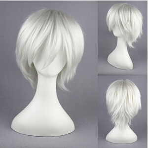 Free Shipping 30cm Short Hitman Reborn Cosplay Byakuran Gesso Silver White Wig Synthetic anime cosplay wigs<br><br>Aliexpress