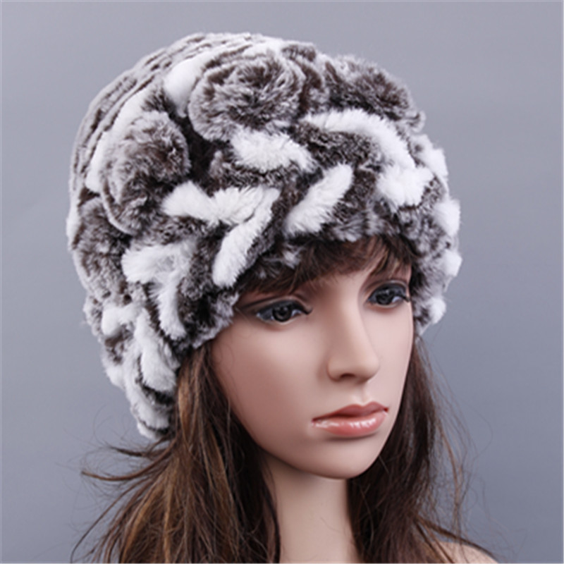 Rex rabbit mushroom hat Women Genuine Knitted Fur Hats Natural Stripe Rex Rabbit Fur Caps lady winter warm Headwear for womenОдежда и ак�е��уары<br><br><br>Aliexpress