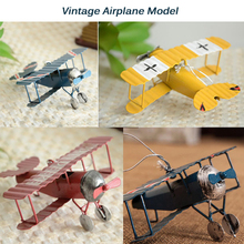 Wholesale Vintage Metal Plane Model Iron Home Wedding Decoration Retro Glider Biplane Aeromodelo Pendant Airplane Handicraft Toy(China)