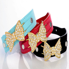 Factory particular cow suede leather pet dog necklet golden bowknot pet collar Diamond cat collar for small or medium pet dog