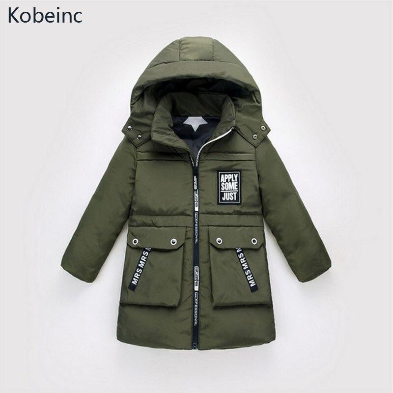 Kobeinc Hot Selling Children Down Jackets Solid Winter Kid Long Sections Thickening Warm Outerwear 2017 New Boys&amp;Girls ClothingÎäåæäà è àêñåññóàðû<br><br>