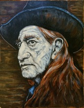 POP art oil painting-Willie Nelson  Texas Mojo Blues original Guitar Folk Art  --100% hand painted 24x20 inch-free shipping