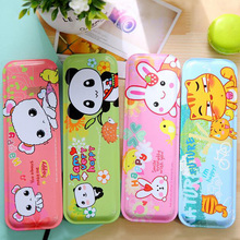 Simple New Cartoon Panda Rabbit Tin Pencil Case Animal Iron Pen Box Stationery Storage School Supplies For Teenages Gift PB008