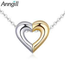 Gold And Silver Color Alloy Heart Love Necklaces for Couples Korean Ladies Fashion Trendy Pendants Romantic Jewelry Accessory(China)
